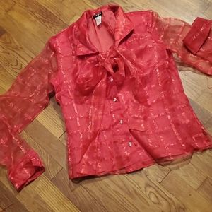 VINTAGE RED SHEER SHIMMER TIE FRONT BUTTON BLOUSE